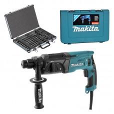 MAKITA HR2470 Perforateur burineur SDS-Plus 780W + Coffret 17 pièces D-42444